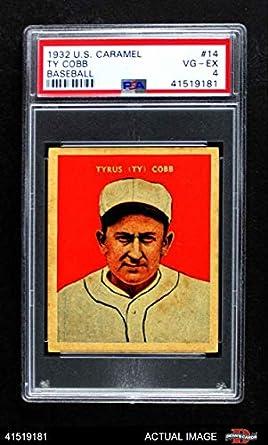 Amazoncom 1932 Us Caramel 14 Ty Cobb Baseball Card Psa 4