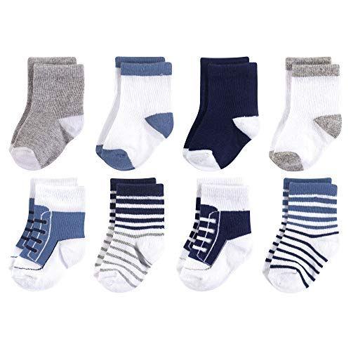 Luvable Friends Baby Basic Socks, Navy And Gray Sneaker 8Pk, 6-12 Months