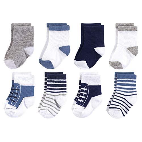 Luvable Friends Baby Basic Socks, Navy And Gray Sneaker 8Pk, 12-24 - Socks Sneaker Boys