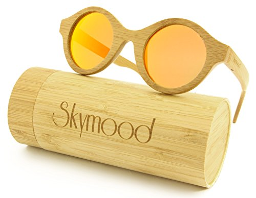 1f39fa95df SKYMOOD Bamboo Wood Sunglasses Round