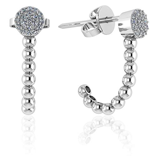 (.925 Sterling Silver & Pavé-Set Cubic Zirconia J Shape Half Hoop and Stud Earrings - Round)