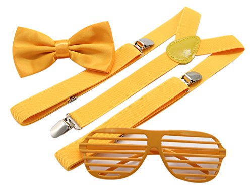 JAIFEI Plastic Shutter Shades Glasses + Adjustable Suspenders + Bow tie Set For Costume Parties Props - Shutter Shades Yellow