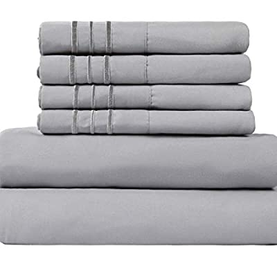 "EASELAND Queen Size 6-Pieces Bed Sheets Set 1800 Series Microfiber Wrinkle & Fade Resistant,Deep Pocket,Hypoallergenic Bedding Set,Queen,Grey - 【Feel The Difference】For EASELAND Full/Queen/King/Cal King/size bed sheet set,Compare to the 4-piece bed sheet set ,we have added two extra pillowcases.they will add good convenience when you want to regularly clean your old pillowcase or you want to prepare for the guest room .No worry of alternative pillowcase being not available again.These sheets are also breathable, cool and soft . 【Queen Size 6pc Bed Sheets Set】-1 flat sheet 90""x102"", 1 fitted sheet 60""x80"",and 4 pillowcases 20""x30"".Deep pocket fitted sheet with elastic all around . 【Easy To Care】Fade, stain, shrink and wrinkle resistant. Machine wash in cold. Dries quick on tumble dry low. No pilling or shedding. - sheet-sets, bedroom-sheets-comforters, bedroom - 41%2BYuQFEc4L. SS400  -"