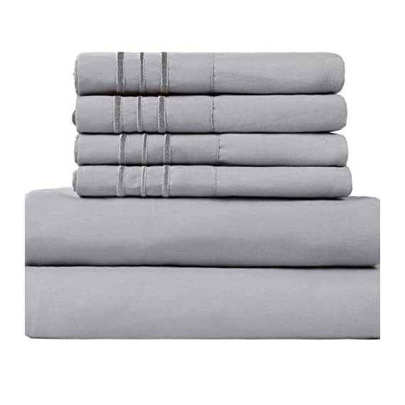 """EASELAND 6-Pieces 1800 Series Microfiber Bed Sheets Set-Wrinkle & Fade Resistant,Deep Pocket,Hypoallergenic Bedding Set,Queen,Grey - 【Feel The Difference】For EASELAND Full/Queen/King/Cal King/size bed sheet set,Compare to the 4-piece bed sheet set ,we have added two extra pillowcases.they will add good convenience when you want to regularly clean your old pillowcase or you want to prepare for the guest room .No worry of alternative pillowcase being not available again.These sheets are also breathable, cool and soft . 【Queen Size 6pc Bed Sheets Set】-1 flat sheet 90""""x102"""", 1 fitted sheet 60""""x80"""",and 4 pillowcases 20""""x30"""".Deep pocket fitted sheet with elastic all around . 【Easy To Care】Fade, stain, shrink and wrinkle resistant. Machine wash in cold. Dries quick on tumble dry low. No pilling or shedding. - sheet-sets, bedroom-sheets-comforters, bedroom - 41%2BYuQFEc4L. SS570  -"""
