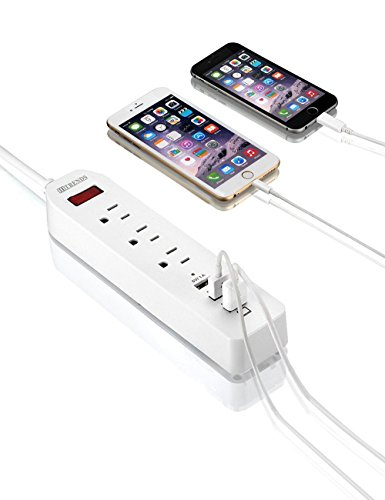 ❤ HITRENDS Power Strip 3 AC Outlets with 3 USB Charging Ports Extension Cord 1250W/10A for iPhone 7 6 6S Plus iPad Samsung HTC LG Tablets Laptop (6ft, White) by HITRENDS (Image #6)