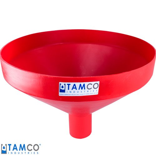 20-7/8'' Top Diameter Red Heavy Duty Tamco Linear Low Density Plastic Funnel with 4'' OD Spout (1 Funnel)