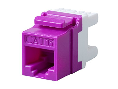 Monoprice Cat6 RJ-45 180-Degree Punch Down Keystone Jack Short body 28mm, Purple (Rj 45 8p8c Keystone)