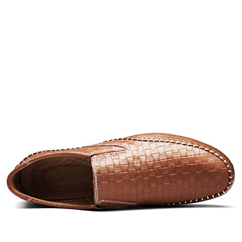 Tda Heren Zomer Stuiver Mode Stiksels Synthetische Loafers Lage Schoenen Bruin