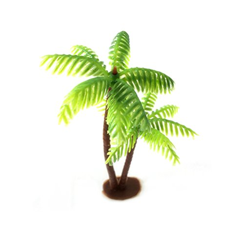 (OULII Plastic Coconut Palm Tree Miniature Plant Pots Bonsai Craft Micro Landscape DIY Decor )