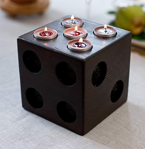 Artswhole Large Rustic Tea Lights Candle Holder Set - Real Tree Pine Wood - Natural Wooden Home Decor - Decorative Tall Tealights Candle Holders in Dice Style for 1-6 Set Tealight Candles - Brown from Artswhole