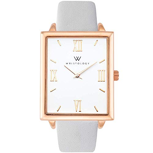 (WRISTOLOGY Naomi Womens Rose Gold Rectangle Boyfriend Watch Genuine Leather Band (White))