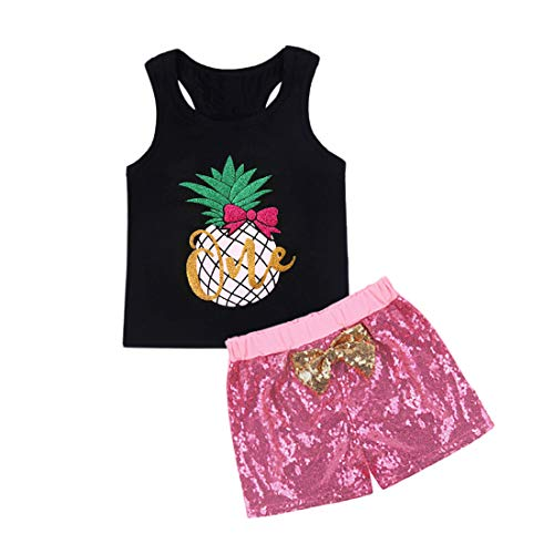 Neeseelily Baby Girl Summer Clothes Sleeveless Pineapple T-Shirt Tank Tops with Sequins Shorts Birthday Outfits Set (18-24 Months, Black)