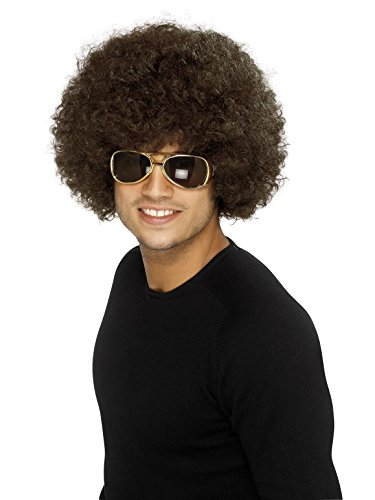 Smiffy's Men's 70's Funky Brown Afro Wig, One Size, 5020570420164
