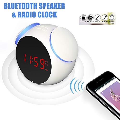M-LUCK Portable Digital Alarm Clock Wireless Bluetooth Speaker with FM Radio With 4.0 Speaker,FM Radio,TF Card,Dual Alarm,Snooze,USB Charging, AUX Line-in,White LED Display (White)