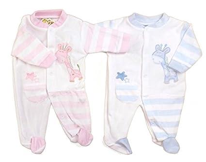 Pijama Todo En Un terciopelo para bebe Rosa o azul con diseño de jirafa blanco ROSE