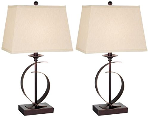 Pacific Coast Lighting 87-6180-22 Novo Dark Bronze 1-Light 100W Table Lamp - Set of (Pacific Coast Bronze Table Lamp)