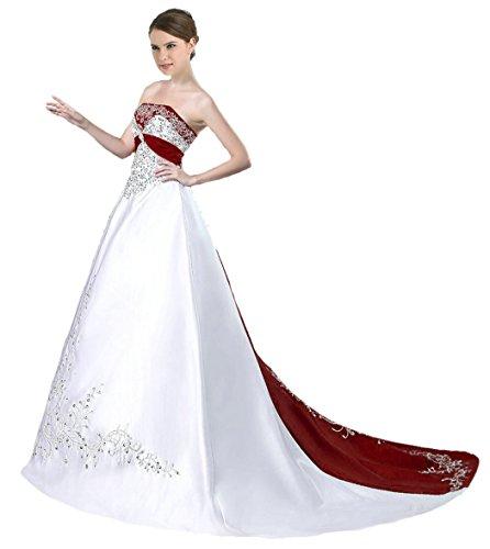 RohmBridal Strapless Satin Embroidery Wedding Dress Bridal Gown E601 White & Burgundy Size 30