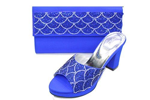 Britannique R Soir Un Femmes Sac Confort Sandale Mariage SAN W de Chaussures W Diamante et et amp; Talon Bloc Chaussures Walk Blue Fête L'usure 2032 Assorti wqE0SY