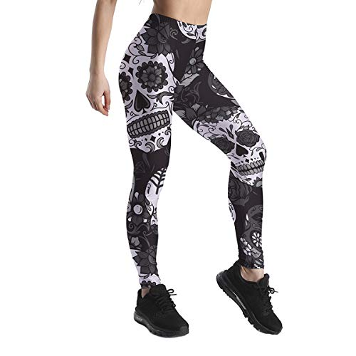 Halloween black and white horror Skeleton Sugar Skull and flower 3D printed outdoor leggings ()