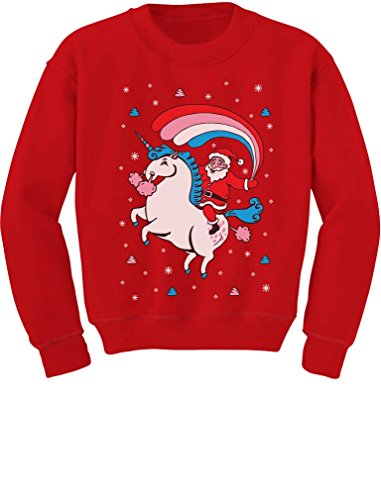 Santa Riding Unicorn Rainbow Ugly Christmas Toddler/Kids Sweatshirt 5/6 Red ()