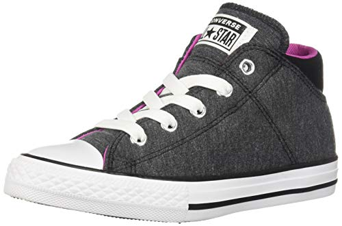 Converse Girls Kids' Chuck Taylor All Star Madison Mid Top Sneaker, Black/Active Fuchsia/White 5.5 M US ()