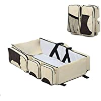 Conava Portable Multifunctional Baby Travel Bed Cot/Bassinet and Folding Mummy Diaper Bag Red