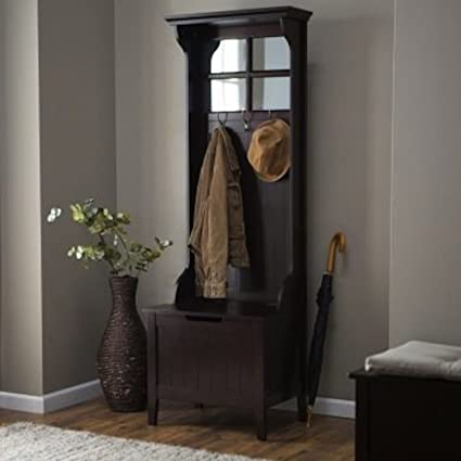 Amazon Com Espresso Entryway Mini Hall Tree With Mirror Coat Hooks