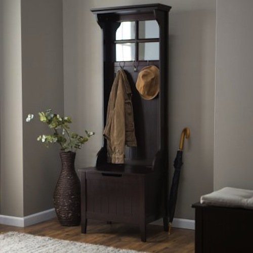 Espresso Entryway Mini Hall Tree with Mirror Coat Hooks and Storage Bench (Hall Mirror With Coat Hooks)