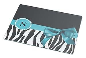 "Rikki KnightTM Letter "" S "" Sky Blue Zebra Bow Monogram Small glass Cutting board"