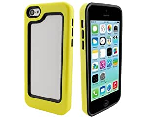 BONAMART ® Negro / Amarillo 2N1 Hybrid Impacto Carcasa Caso Funda Rígido Case TPU Parachoques Silicona Cover Para Apple iPhone 5C
