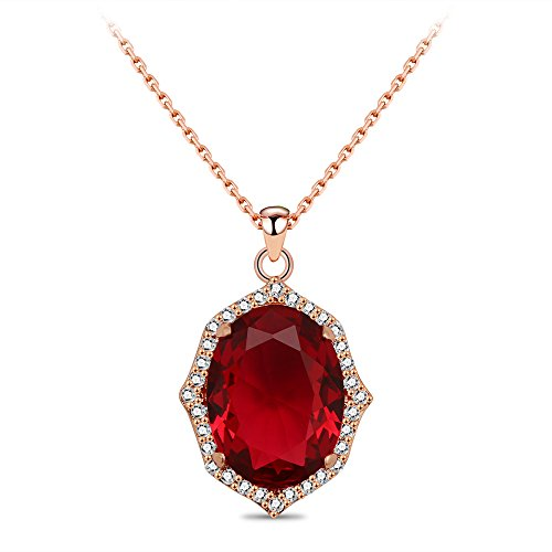 CONNIE.Y 18K Gold Popular Natural Stone Red Beads Crystal Pendant Necklace Jewelry Unique Fashion for Girls & ()