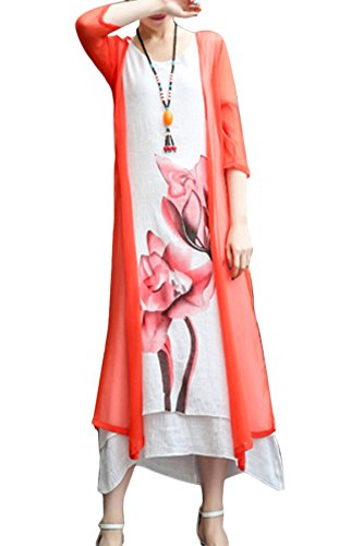 BubbleKiss Women Mori Girl Style Round Neck Asymmetric Hem Color Block Floral Printed Cotton/Linen Two-Piece Maxi Dress -