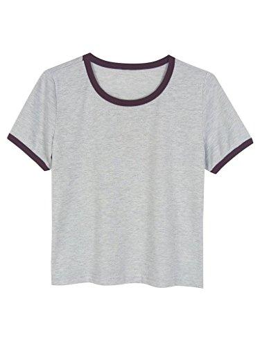 PERSUN PSCYAB77 M Grey PERSUNWomensCottonShortSleeveCroppedTopRingerT shirt