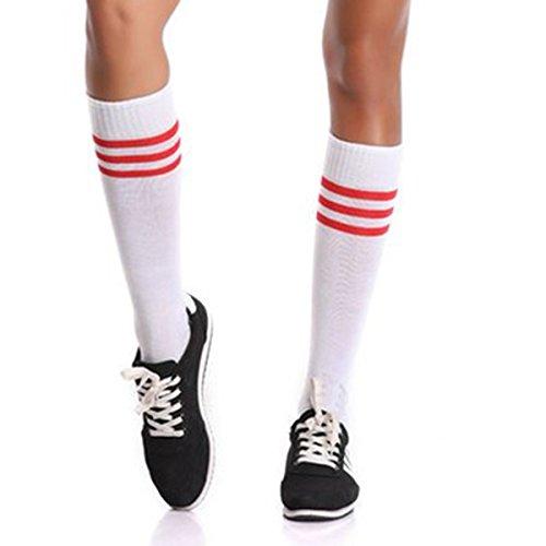 Soccer Socks,Totalmall Unisex Stripe Team Sports Football Middle Tube Socks Athletic Solid Socks for Work/Sport/Dress | Ultra-Dry (white red - Striped Football Socks