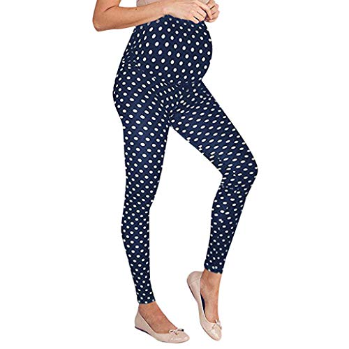 Maternity Pants for Work,Women's Maternity Leggings Seamless Dot Pants Stretch Pregnancy Trousers,Maternity Intimate Apparel Blue