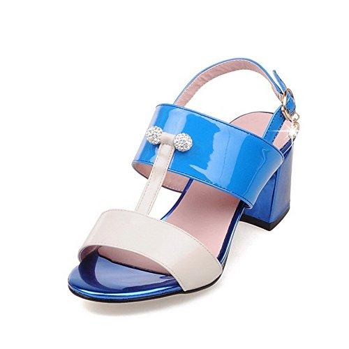 Allhqfashion Mujeres Buckle Kitten-heels Microfibra Tachonado Sandalias De Punta Abierta Azul