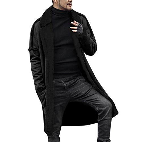Men Long Cardigan,Vanvler Male Double-Sided Coat Warm Plush Jacket Lapel Parka (A Black, 2XL)