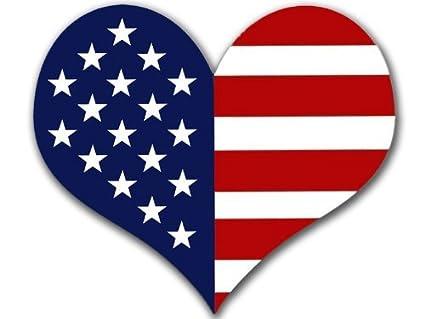 Usa flag heart. Shaped american sticker made