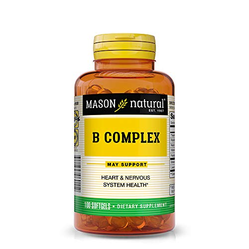 Mason Natural, Vitamin B Complex Multivitamin, Softgel, 100-Count Bottles (Pack of 3), Dietary Supplement Supports Energy Production, Nervous System, and Cognitive Function Including Memory