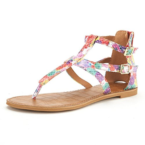 DREAM PAIRS VICTUS Women's Gladiator Ankle Strap Thong With Two Adjustable Buckles Accent Summer Flat Sandals FLORAL SIZE 9