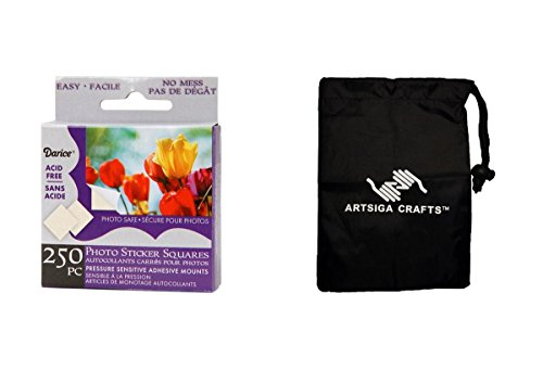 Darice Papercraft Photo Mounting Squares 250 Pieces (12 Pack) LK 02EBH250 Bundle with 1 Artsiga Crafts Small Bag by Darice