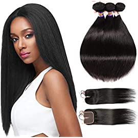 Brazilian Straight Human Hair 3 Bundles With Closure Free Part, Grade 8A 100% Remy Human Hair Extensions, Brazilian Hair…