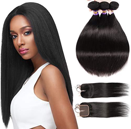 Brazilian Straight Hair 3 Bundles with Closure 8A Unprocessed Virgin Straight Human Hair Brazilian Hair Bundles With 4x4 Fee Part Closure