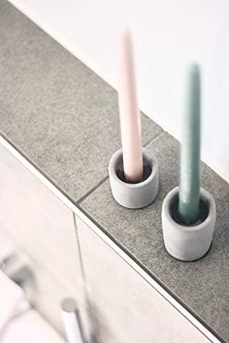 anaan High /& Low Portacandele Porta Candele Candelabro in Calcestruzzo Cemento Disegno Decorativo da Tavolo Geometrico Industriale Moderno per Matrimonio Set di 2, L+S