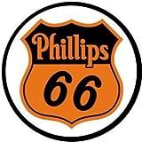 Phillips 66 Shield Logo Gasoline Round Tin Sign 12 x 12in
