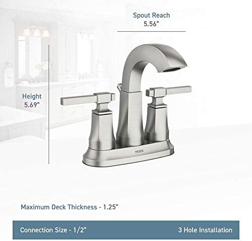 MOEN Ayda 4 in. Centerset 2-Handle Bathroom Faucet in Spot Resist Nickel