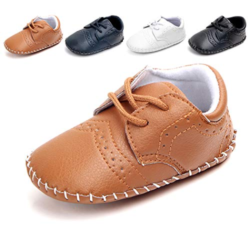 - Cindear Newborn Baby Boys First Walking Shoes Soft Synthetic Leather Brogue Infant Dress Crib Shoes Brown 12-18 Months