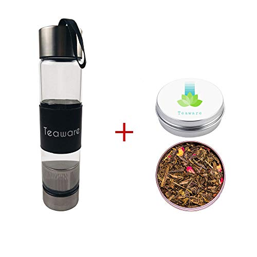 Teaware Glass Bottle Tumbler with Infuser | 2 OZ Loose Leaf Pomegranate Green Tea Included | Healthy Cold Brew Tea for Travel | Eco BPA Free | Stainless Steel Filter ()
