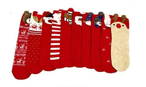 24dec8f982e7 10 PAIRS Christmas Crew Socks