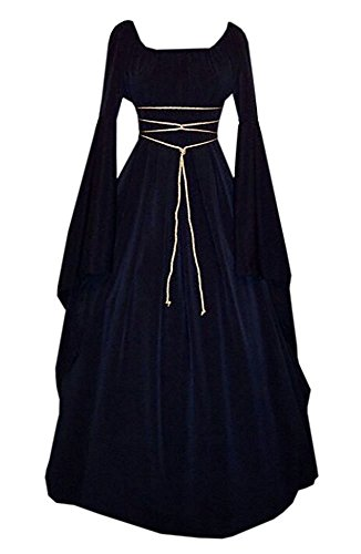 NIUBIA Womens Deluxe Medieval Renaissance Costumes Halloween Cosplay Dress Waist Tie Irish Over Victorian Retro Gown Navy